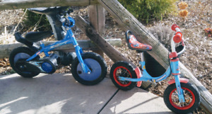 2 Quality Kids Pedaless Push Bikes - Thomas Train & Playskool