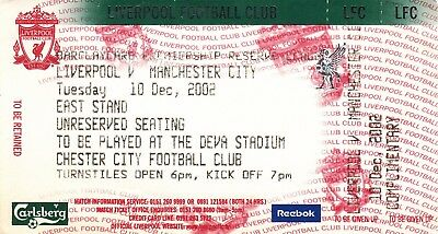 Ticket - Liverpool Reserves v Manchester City Reserves 10.12.02