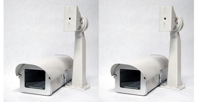 Pack of 2 Outdoor Camera Housing, Side-Opening, Heater & Fan, Mount Bracket