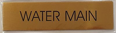 Water Main Sign - Gold Background Aliminum - 2 X7 34 With Self-ref-am