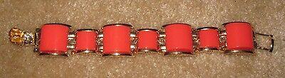 Banana Republic red/orange square beads/stone with gold trim link bracelet, New!