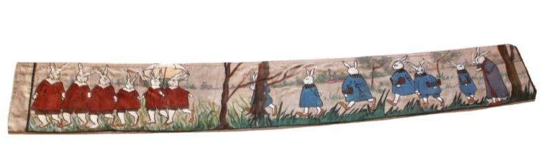 French Antique Rabbit Pelmet Bolster Cushion Woven Textile Painted 1930s 250cm