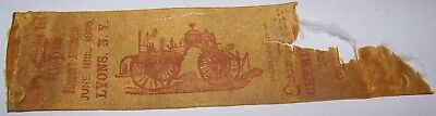 1896 ANTIQUE NORTHERN CENTRAL EVER READY CLYDE NY FIREMAN CONVENTION RIBBON