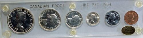 Canada Proof Like Set 1954 6 Coins Capital Coin Holder Silver Uncirculated Proof