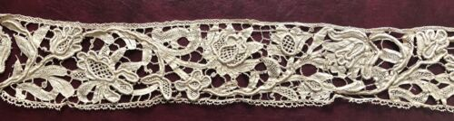 17th. Century unusual Mezzo Punto tape lace with heavy raised details COLLECTOR