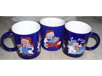 3 x Tetley Tea Blue Time Out Ceramic Mugs Featuring: Gordon Gaffer and Clarence