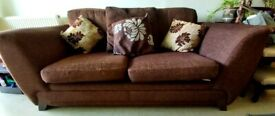 Comfy Large 2 Seater Brown Sofa Bed