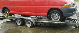 """BRIAN JAMES TWIN AXLE TILT BED RECOVERY CAR TRAILER (14' X 6'3"""" BED) WITH WINCH"""