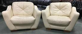 Huge Cream leather sofa chairs WE DELIVER UK WIDE