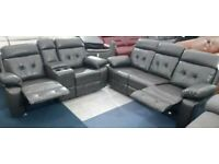 BRAND NEW 3+2 GREY LEATHER RECLINER SOFA