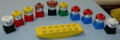 Lot of 10 Vintage LEGO DUPLO People SQUARE Base Figures BOYS GIRLS DOG & ROCKER