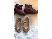 3x Girls Clarks shoes - size 5 & half