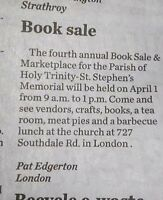 ST. STEPHENS MEMORIAL CHRUCH ANNUAL BOOKSALE & MARKETPLACE