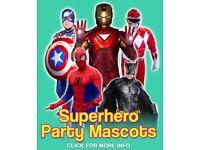 Kids Party Mascots SUPERHEROES IRON MAN CAPTAIN AMERICA BATMAN AVENGERS MEET GREET London Near Me