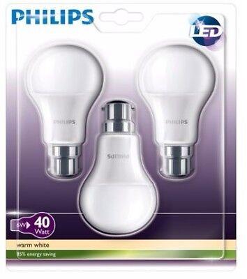 3 x Philips Bayonet Cap Warm White Ceiling Light Bulb Lamp B22 470Lm LED 6W GLS