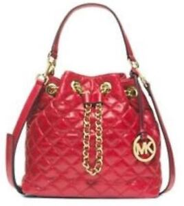 Michael Kors red quilted bucket bag - leather