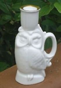 Pair Royal Doulton white bone china owl taper candle holders