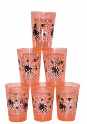 6 Halloween Party Becher orange NEU - Partyartikel Dekoration Karneval Fasching