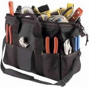 voltage tester, pliers,level, measuring tape, bag, pouch, tools