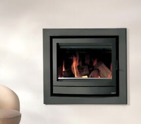 WOODBURNER - SAEY FENIX 70 INSET STOVE 6-12Kw. Silver/Grey. Fan assisted heat output.