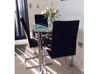 4 Dansk Design Dining chairs . Black on chrome frame . Excellent condition .