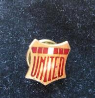 "Birks enamel pin ""United"" red/white old screwback gold /gold pla"
