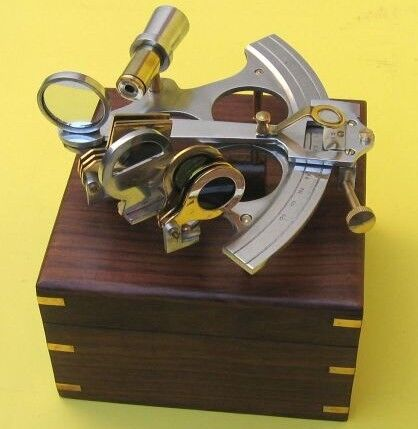 "NAUTICAL Navigation MARINE 6"" ALUMINUM and BRASS SEXTANT with WOOD BOX New"