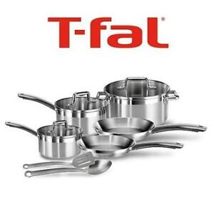 NEW T-FAL 10PC COOKWARE SET c811sa54 190240780 STAINLESS STEEL ELEGANCE COOKING KITCHEN