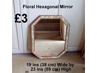 Floral Hexagonal Mirror - Details on Photo