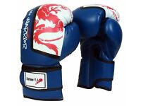 TurnerMAX Synthetic Leather Blue Mexican Gloves Training Sparring MMA Martial Arts 16 oz