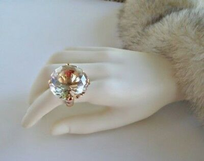 Clear Crystal Cocktail Ring - GOLD CLEAR CRYSTAL RHINESTONE STRETCH RING PAGEANT BRIDAL COCKTAIL DRAG QUEEN