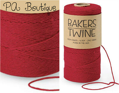 Cherry Red 4-ply 100% Cotton Baker's Twine *Your Choice of Length*](Baker's Twine)