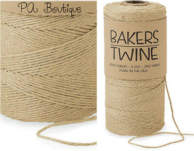 Natural Kraft Tan Brown 4-ply 100% Cotton Baker's Twine *Your Choice of - Bakers Twine