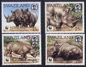 Swaziland 1987 Mi 528-31 ** WWF Animals Pets Tiere Zwierzęta Nashorn Rhino - Dabrowa, Polska - Swaziland 1987 Mi 528-31 ** WWF Animals Pets Tiere Zwierzęta Nashorn Rhino - Dabrowa, Polska