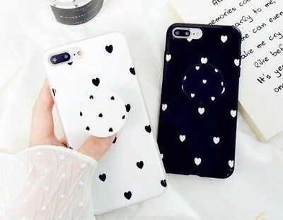 iPhone 7 8 Plus X XS Max Heart Hearts Case With Pop Up Holder Stand Quality TPU  (Hearts Plus)