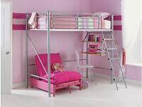 HOME Sit 'N Sleep Metal High Sleeper Bed Frame - Pink Futon