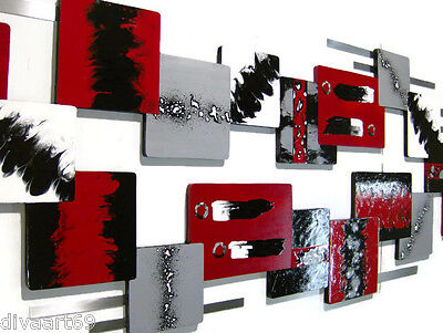 JUMBO Modern Abstract Red & Black Wall Sculpture, Bold and Stunning Decor 94x24