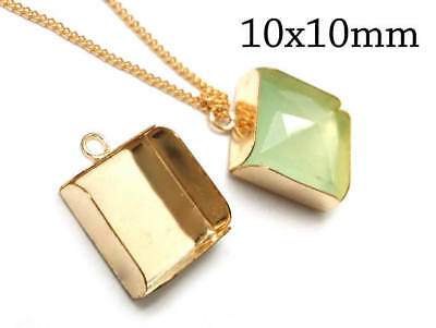 2pcs Gold Filled Bezel Cup, square Shaped Setting With Loop, JBB Findings