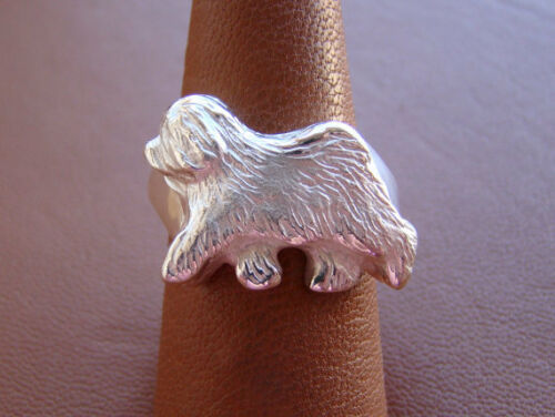 Large Sterling Silver Old English Sheepdog Moving Study Ring