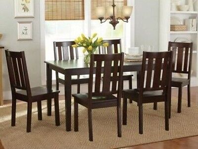- 7 Pc Mocha Dining Room Set Wood Kitchen Furniture Table & 6 Chairs Dinette Sets