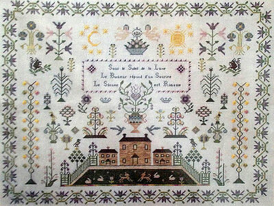 FRENCH ANTIQUE ALPHABET SAMPLER CROSS STITCH PATTERN CHART Sun and Moon