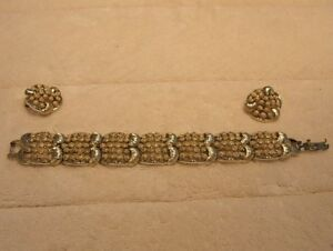 "Vintage Signed CORO Bracelet/Earrings ""Fancy Dots"",V.G."
