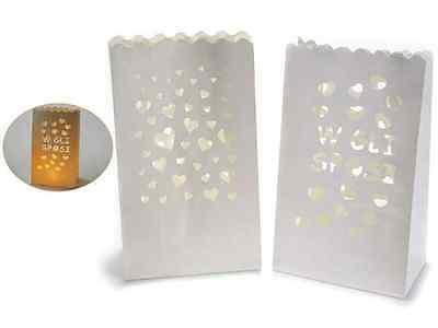 Sacchetti lanterne porta candela CUORI VIVA GLI SPOSI Love  confezione da 10 pz