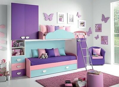 Cameretta Bambina a soppalco Valentini Girotondo Mod. Ilaria azzurro rosa viola