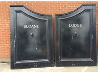 ONE PAIR BLACK MAHOGANY LODGE GATES RECENTLY REMOVED FROM SLOANE LODGE, CHELSEA, LONDON