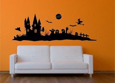 Halloween Wandtattoo Wandaufkleber Kürbis, Hexe Aufkleber Sticker Gruselhaus