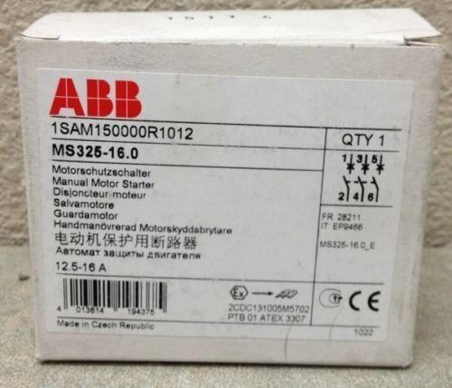 ABB MS325-16.0 3 POLE 16 AMP MAN MOTOR STARTER TRIP RANGE 12.5-16 AMP NEW-IN-BOX