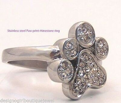 Silver Paw Print Ring Crystal Rhinestone Stainless Steel Dog Cat Clear SZ 6-9