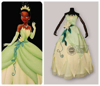 Tiana Adult Costume The Princess and The Frog Cosplay Dress Deluxe Ball Gown[H]](Adult Princess Tiana Costume)