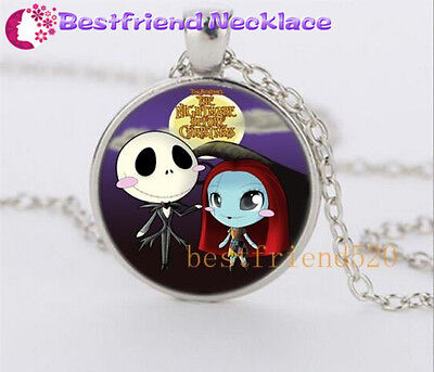 NEW Nightmare Before Christmas cute jack and sally Silver Glass  necklace#YKL13